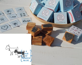 Greece Inspired Olive Wood Stamp in Box - Greek Goats