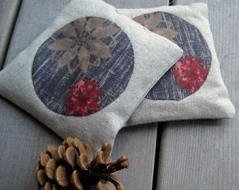balsam fir sachets \/ silk and linen \/ wheat gray and brown pinecones