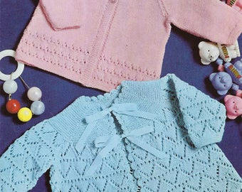 Instant PDF Digital Download  baby matinee coats  knitting pattern  4 ply (549)
