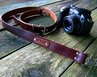 Camera strap leather, Personalized gift, Leather SLR DSLR camera strap, Canon Nikon camera strap, Photographer gift, Free Personalized Gift