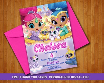 Shimmer and Shine Invitation, Shimmer & Shine Party, Shimmer and Shine, Shimmer and Shine Birthday, Girl Invitation, FREE Thank You Cards