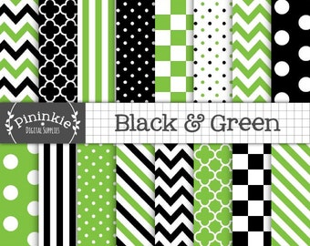 Green Halloween Digital Paper, Black and Green Scrapbook Paper, Commercial Use, Green and Black Chevrons, Green Polka Dots, Instant Download