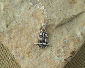 Owl Necklace, Owl Pendant, Solid Sterling Silver Owl Necklace, Owl Jewelry
