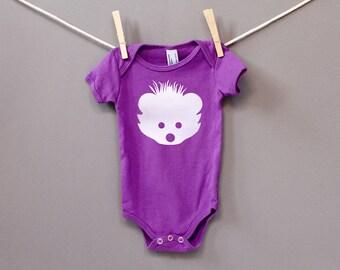 Organic Cotton Hedgehog Onesie in Purple with White / 0-3 Months
