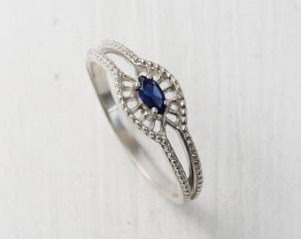 Victorian ring, Solitaire ring, Promise ring, Sapphire ring, Art deco ring, Antique ring, Silver solitaire ring, Sapphire solitaire ring