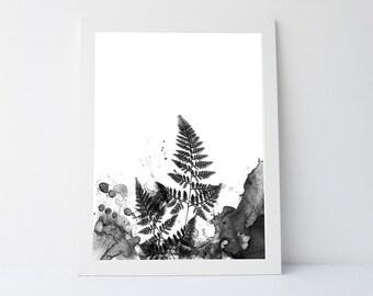 Abstract botanical, botany black white, wall art printable,black white wall art,modern art print,wall art leaf,black white leaf, plant print
