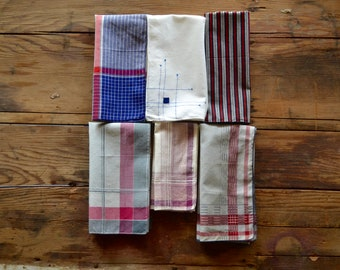 vintage blue and red hankies / pocket squares, set of 6