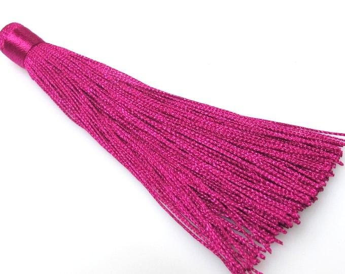 1 Piece  - Long magenta fuschia color tassel charm supplies - 120 mm long - BD874B