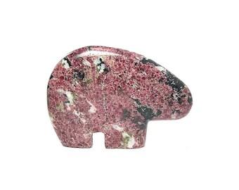 Eudialyte Bear Rare Red Stone,  Semiprecious Polished Gemstone Carved Bear Fetish, Canadian Gem, North American Motif Sculpture