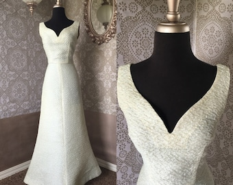 Vintage 1960's Iridescent Trumpet Hem Fitted Wedding Gown Small