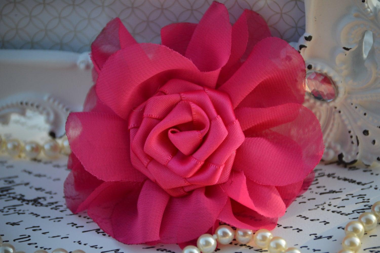 Hot pink chiffon satin flower 3 fabric flowers chiffon flowers 265 mightylinksfo Images