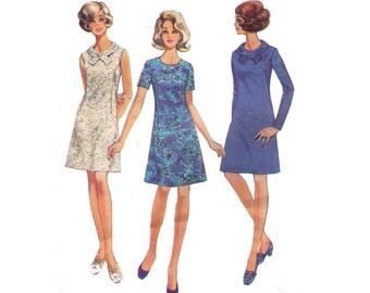 "Style 2481, 60s sewing pattern, size 16 bust 36"" women's dress pattern, A-line dress, long sleeves, beach dress"