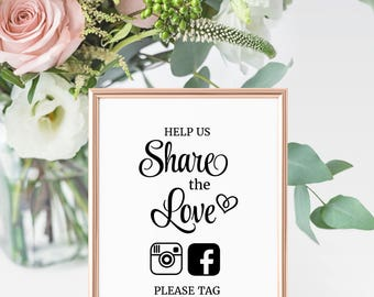 Wedding Hashtag Sign, Social Media sign, Wedding printable sign, instagram sign. Help us Share the Love sign.  Edit in Adobe Reader.