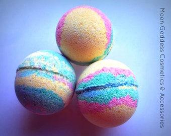Cotton Candy Swirl Lemon Scented Bath Bombs (Set of 3)