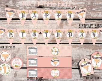 Fox Birthday Party Package | Fox Birthday Party Set | Fox Birthday | Printable Party Pack | Woodland Birthday Package - Winter Wonderland