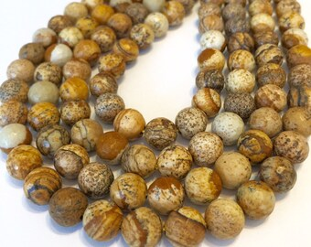Picture Jasper FACETED round 8mm beads whole strand