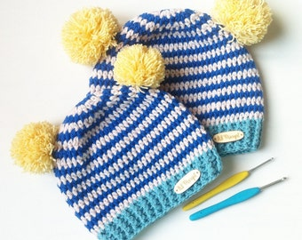 Crochet Beanie Hat, Mommy and me Outfits, Mommy and Me, Crochet Beanie, Crochet Hat, Baby Hat, Pom Pom Hat, Beanie Baby, blumargot