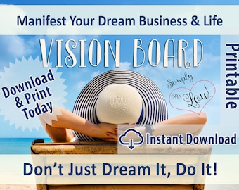 Printable Workbook - Dream Business, Dream Life, Vision Board - Instant Download
