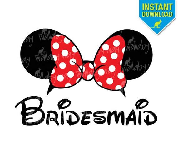 disney bridesmaid minnie ears printable iron on transfer or rh etsy com bridesmaid clip art silhouette bridesmaid clipart
