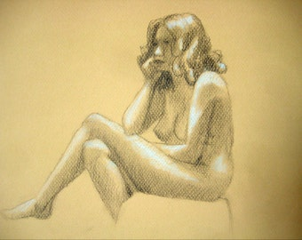 "Female Figure Drawing - Seated Nude Female Figure - original drawing, graphite and pastel on toned paper, 10x12 ""Caroline"""