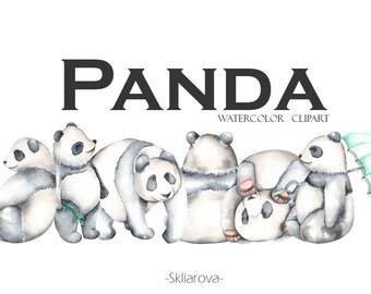 Panda clipart Digital watercolor panda Panda illustration Animal clipart Cute bear Watercolor digital animal Seamless pattern Child print