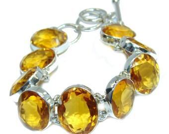 Golden Topaz Quartz Sterling Silver Bracelet - weight 35.90g - dim 7 8 inch - code 20-maj-16-55