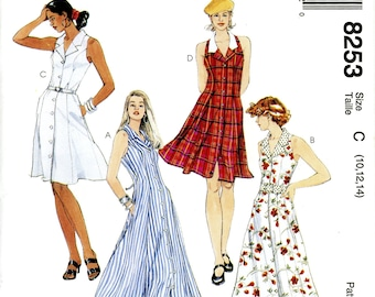 McCall's 8253 Sleeveless Sun Dress Button Front Flared Size 10 12 14 Uncut Vintage Sewing Pattern 1996 1990s