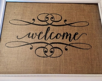 Welcome Wall Art / Welcome Burlap Wall Art / Wall Art / Burlap Wall Art