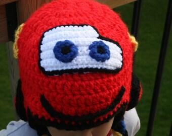 Lightning MacQueen Inspired Cars Hat Crochet Pattern - Newborn - Toddler - Child - Adult