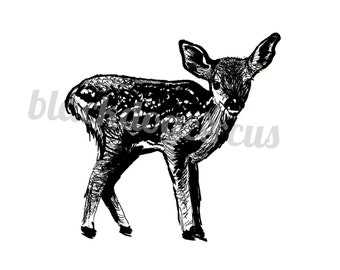 Deer Print in Black Ink from an Original Drawing on Fine Art Quality Recycled Paper