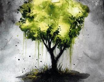 Tree art print, 8x6, 8x12, 6x12, A5, A4, A3, select size, canvas sheet, landscape art