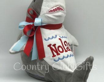 Personalized Stuffed Animal Shark | Personalized baby gift | birth stat Shark | stuffed Shark | Baby Shower Gift | Baby Boy Gift | Shark