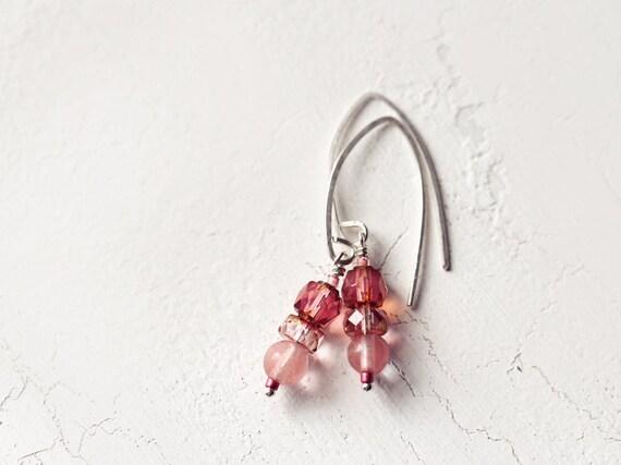 Cherry Quartz Earrings - Everyday Earrings - Dangle Earrings - Gemstone Earrings - Pretty Drop Earrings - Pink and Silver Earrings