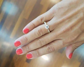 Diamond Wedding Ring, 14K Yellow Gold Engagement Ring, Round Diamond Engagement Ring, Gold Bridal Ring, Diamond Ring, Pave Ring, Gold Ring