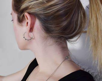 Silver hoops earrings medium – 1 inch hoop earrings - beaded hoops - hoop earrings with beads – stacking hoops – indie earrings - thin hoops