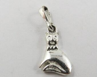 Sitting Kitten Sterling Silver Charm or Pendant.