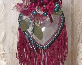 Burgundy Victorian Heart Hanging Christmas Ornament - Vintage Style HR-6