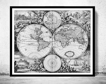 Old World Map Antique Atlas 1668