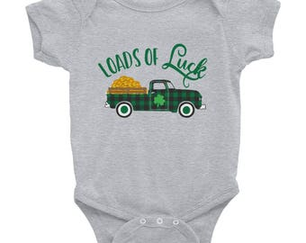 Loads of Luck St. Patty's Day Onesie with a Buffalo Check Vintage Pickup Truck Classic Truck Infant Bodysuit