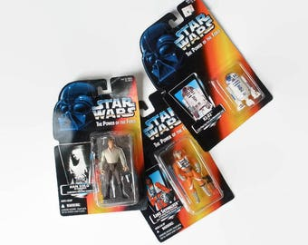 Vintage Star Wars Hans Solo Luke Skywalker R2D2 Action Figure 1995 Red Card Kenner Geekery Collectible Vintage Toy
