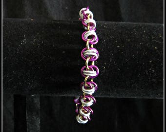 Violet, White and Gold Barrel Weave Chainmail Bracelet