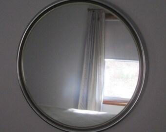 "Chrome Mirror, 16"" Diameter, Vintage, Mid Century, Modern"