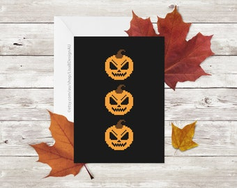 Birthday Card | Pixel Art | Pixel Pumpkin Greeting Card | Fall | Horror | Jack O Lantern Card | Teen Boy Gift | Teen Girl Gift | GCHCA602