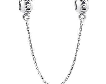 Sterling Silver (.925) Silver Heart Safety Chain Fits All European Bracelets or Necklaces