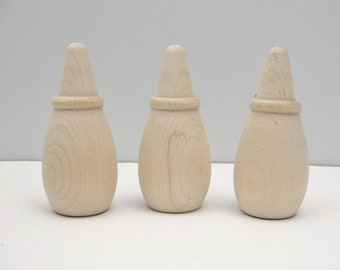 """3 Medium wooden cone head dolls 3 1/2"""" tall, wooden contemporary Christmas tree, ring cone unfinished DIY"""