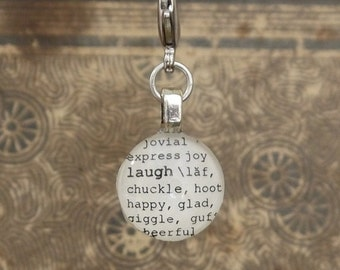 Laugh Dictionary Word Clip-on Charm Antique Vintage Look Gift by Kristin Victoria Designs
