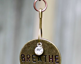 Brass Metal Stamped Disc Breathe Necklace Pendant with 16 Inch Brass Chain
