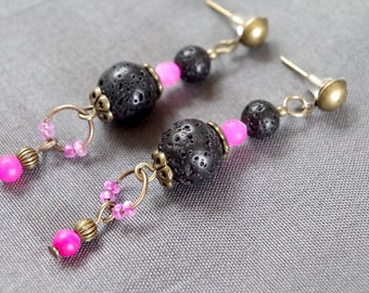 Pink agate and black lava stone earrings