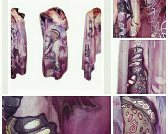 Butterfly Silk Scarf, Handpainted Scarves, Purple Butterflies scarf, Scarf Women, Silk Shawl, Purple Scarf
