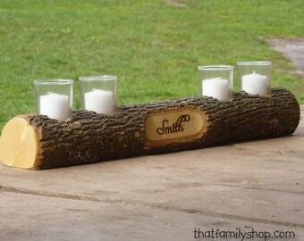 Mantel Decor Name Log Holder Rustic Custom Centerpiece